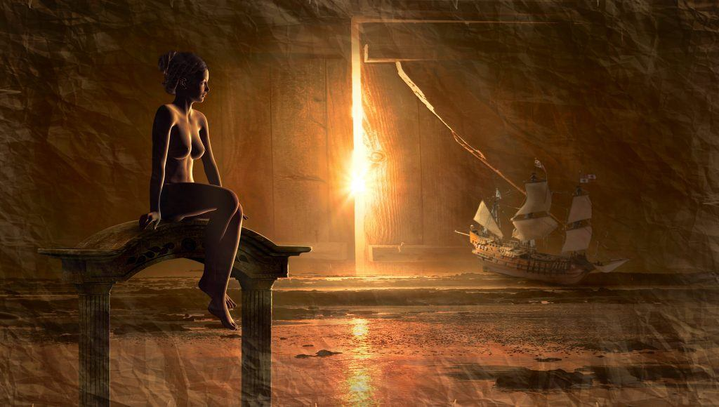 golden light of the interdimensional portal